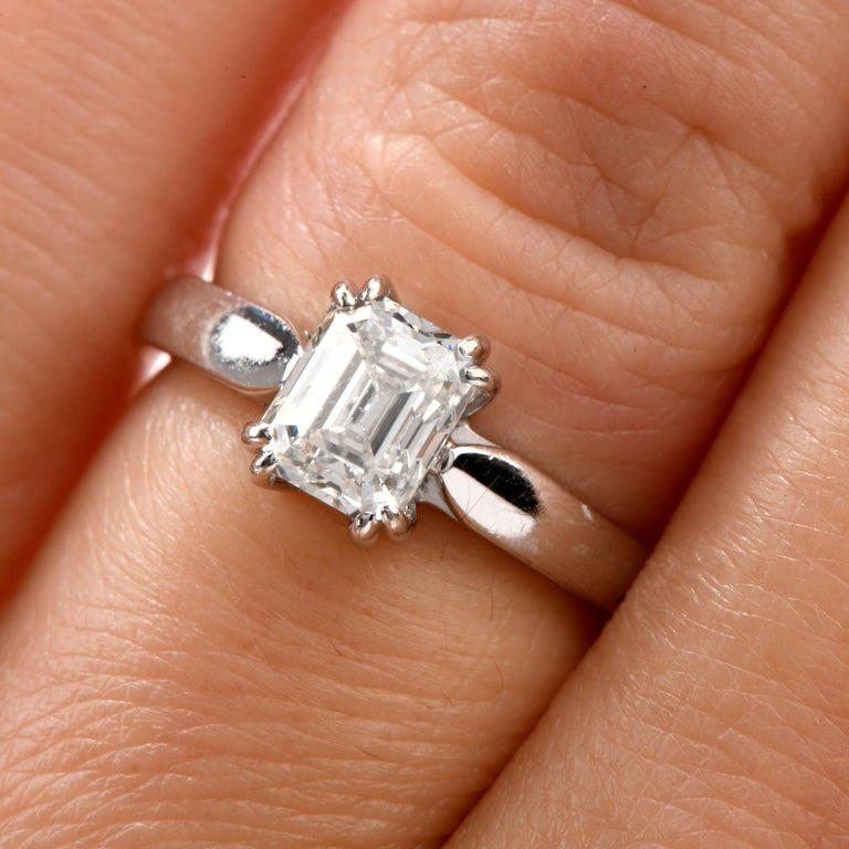 Art Deco GIA Emerald-Cut Diamond I-VS1 Solitaire Engagement Gold Ring For Sale