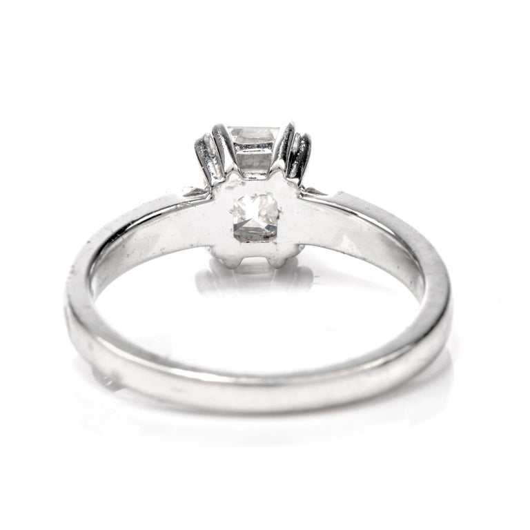 Women's or Men's GIA Emerald-Cut Diamond I-VS1 Solitaire Engagement Gold Ring For Sale