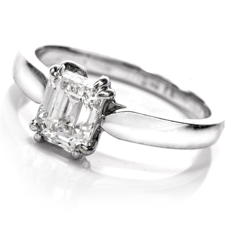 GIA Emerald-Cut Diamond I-VS1 Solitaire Engagement Gold Ring For Sale 1