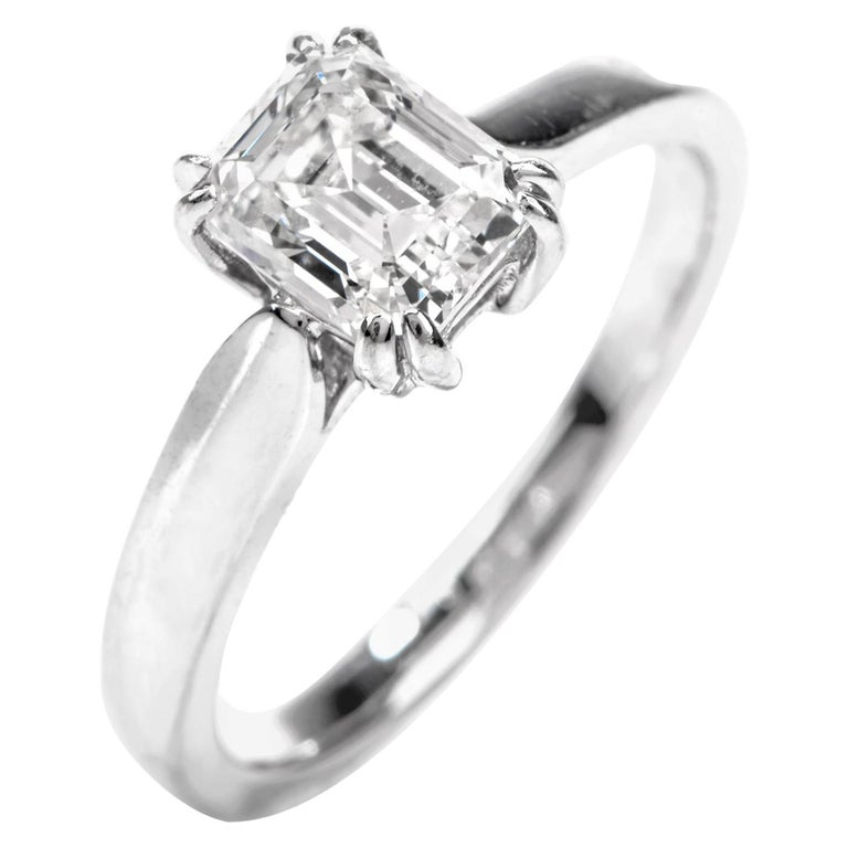GIA Emerald-Cut Diamond I-VS1 Solitaire Engagement Gold Ring For Sale