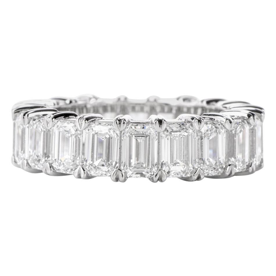 GIA Emerald Cut Diamond Platinum Eternity Band Ring