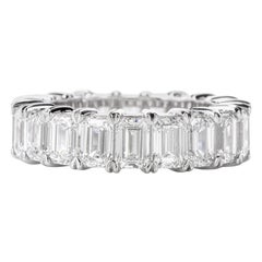 GIA Emerald Cut Diamond Platinum Eternity Band Ring