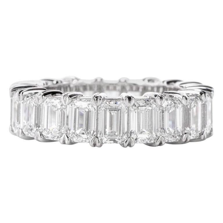 GIA Emerald Cut Diamond Platinum Eternity Band Ring For Sale