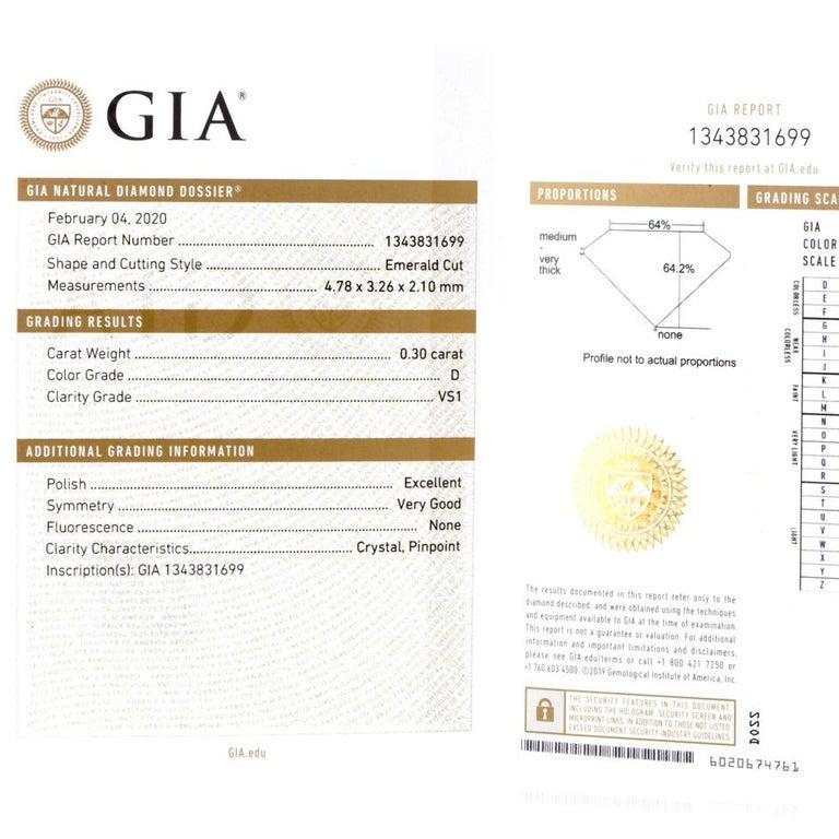 GIA Emerald Cut Diamond Platinum Eternity Band Ring For Sale 5