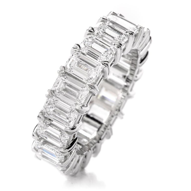GIA Emerald Cut Diamond Platinum Eternity Band Ring For Sale 7