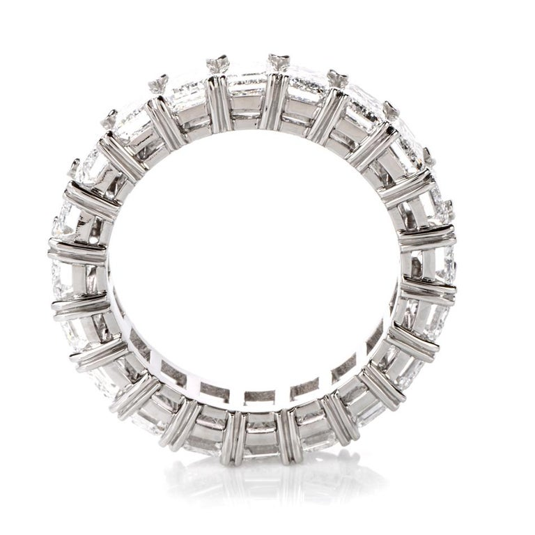 Modern GIA Emerald Cut Diamond Platinum Eternity Band Ring For Sale