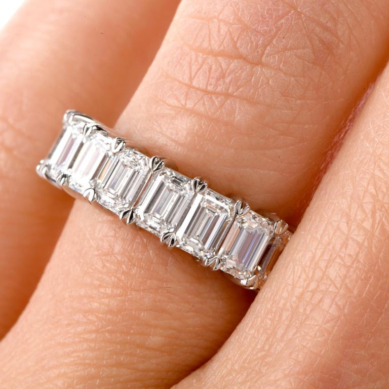 Women's or Men's GIA Emerald Cut Diamond Platinum Eternity Band Ring For Sale