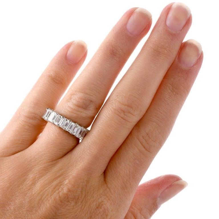 GIA Emerald Cut Diamond Platinum Eternity Band Ring For Sale 1
