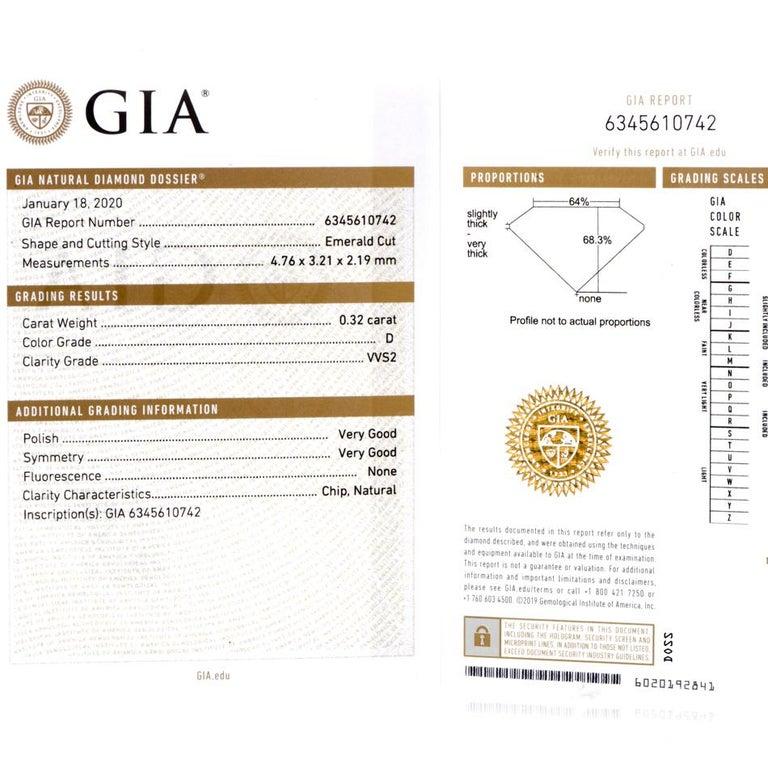 GIA Emerald Cut Diamond Platinum Eternity Band Ring For Sale 2