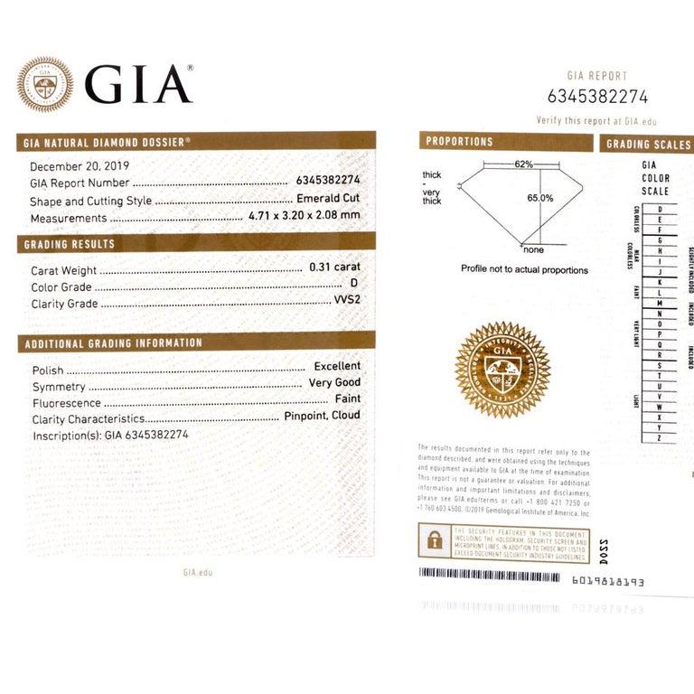 GIA Emerald Cut Diamond Platinum Eternity Band Ring For Sale 3