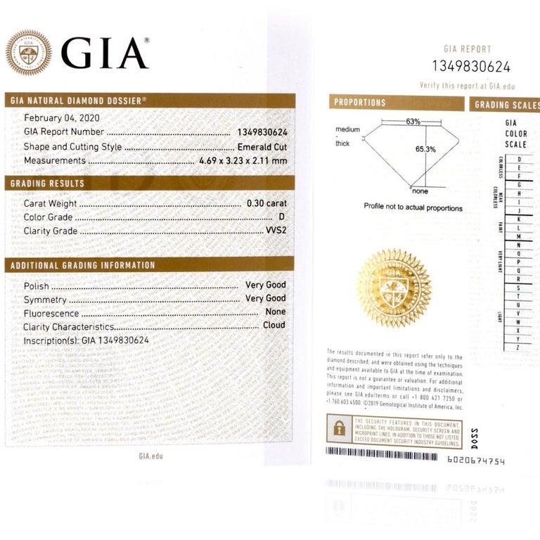 GIA Emerald Cut Diamond Platinum Eternity Band Ring For Sale 4