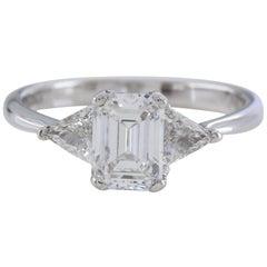 GIA Emerald Cut Three-Stone 1.28 Carat D VS2