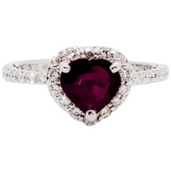GIA Estate Burma Heart Shape Ruby and White Diamond Ring in 18 Karat White Gold