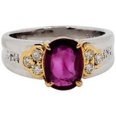 GIA Estate Burma Ruby Cushion and White Diamond Ring