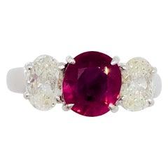 GIA Estate Burma Ruby Oval and White Diamond 3 Stone Ring in Platinum