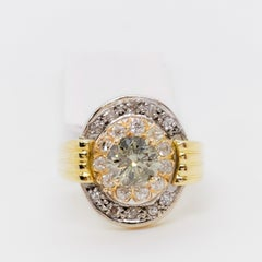GIA Estate Chameleon Diamond Round Natural Fancy Grayish Yellowish Green Ring