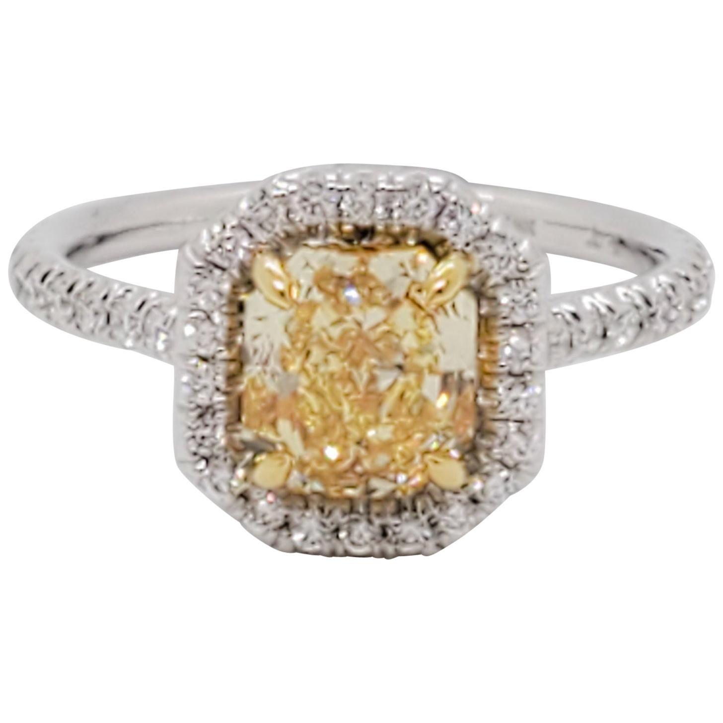 GIA Estate Fancy Intense Yellow Diamond Radiant and White Diamond Ring