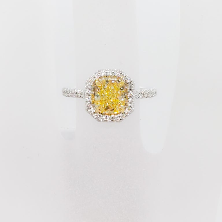Radiant Cut GIA Estate Fancy Intense Yellow Radiant Diamond and White Diamond Ring For Sale