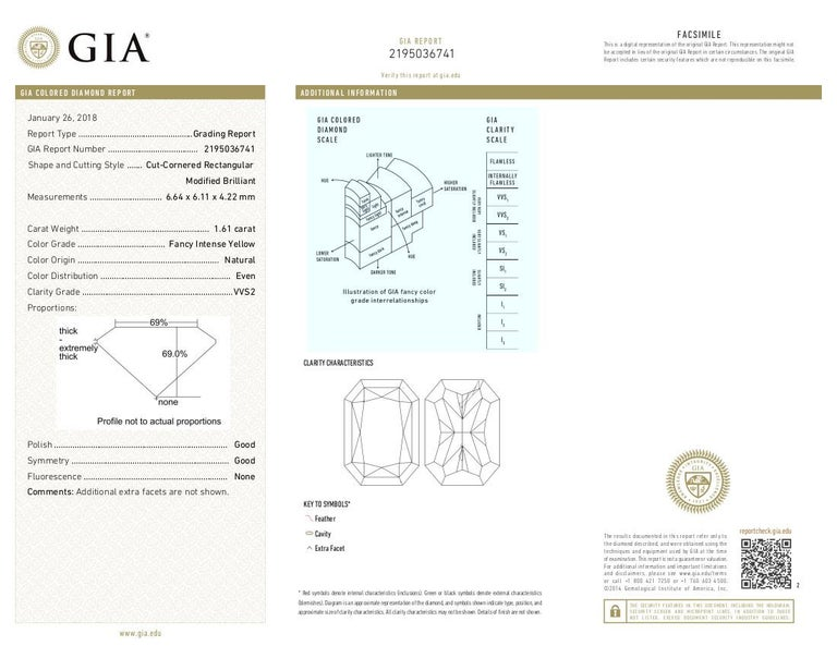 GIA Estate Fancy Intense Yellow Radiant Diamond and White Diamond Ring For Sale 1