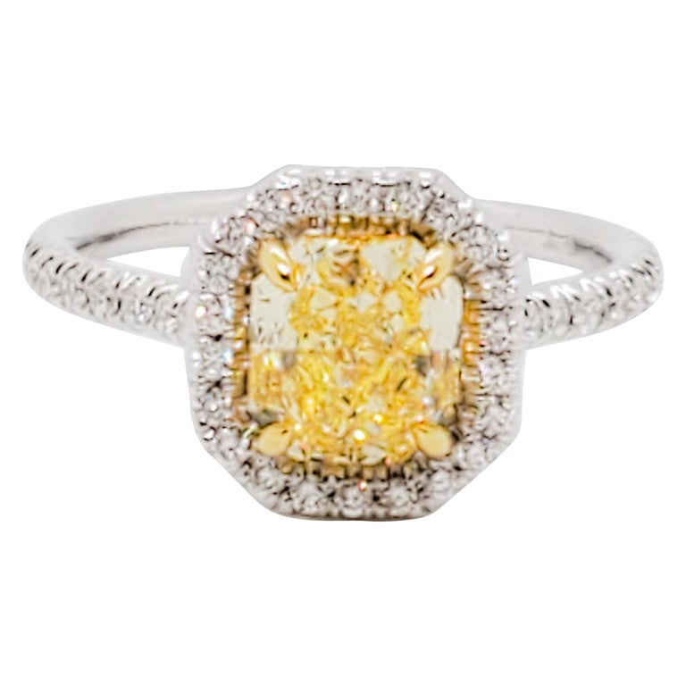 GIA Estate Fancy Intense Yellow Radiant Diamond and White Diamond Ring For Sale
