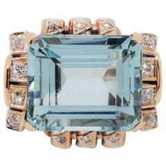 GIA Estate Greenish Blue Aquamarine Octagon and White Diamond Cocktail Ring