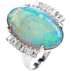 GIA Estate Opal Diamond Platinum Cocktail Ring