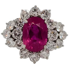 GIA Estate Pink Sapphire Oval and White Diamond Cocktail Ring in Platinum