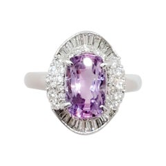 GIA Estate Sri Lanka Pinkish Purple Sapphire Cushion and Diamond Cocktail Ring