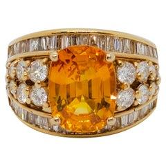 GIA Estate Sri Lanka Yellow/Orange Sapphire Cushion and White Diamond Ring