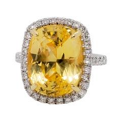 GIA Estate Sri Lanka Yellow Sapphire Cushion and Diamond Cocktail Ring
