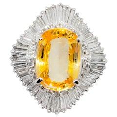 GIA Estate Yellow Sapphire Cushion and White Diamond Cocktail Ring in Platinum