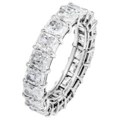 GIA Eternity 5.81ct Radiant Cut Prong Set Diamond Wedding Anniversary Plat Band