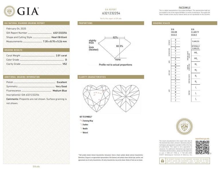 Modern GIA EXCEPTIONAL 2.41 Carat Heart Shape Diamond D Color VS2 Necklace Platinum For Sale