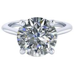 GIA Exceptional 3.52 Carat Round Brilliant Cut Diamond Ring