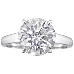 GIA Exceptional 2.40 Carat Round Brilliant Cut Diamond Ring