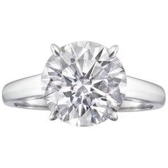 FLAWLESS GIA 2.31 Carat Round Brilliant Cut Diamond Ring