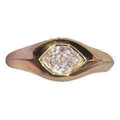 GIA F/VS2 0.59 Carat Hexagon Diamond 18 Karat Gold Signet Ring
