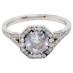 GIA Fancy Greyish Pink Purple Cushion Diamond and White Diamond Ring