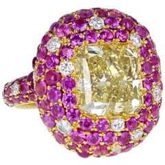 GIA Fancy Intense Canary Yellow 5.08 Carat Diamond Pink Sapphire Cocktail Ring