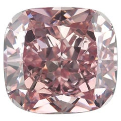 GIA Fancy Intense Pink Cushion Diamond 0.76 Carat Eye Clean