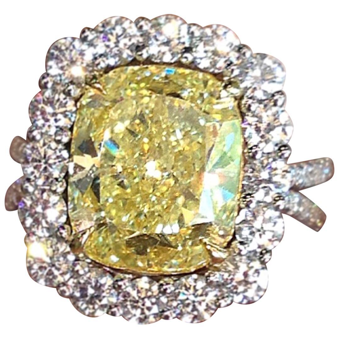 INTERNALLY FLAWLESS Gia Certified 2 Carat Fancy Yellow Diamond Halo Ring
