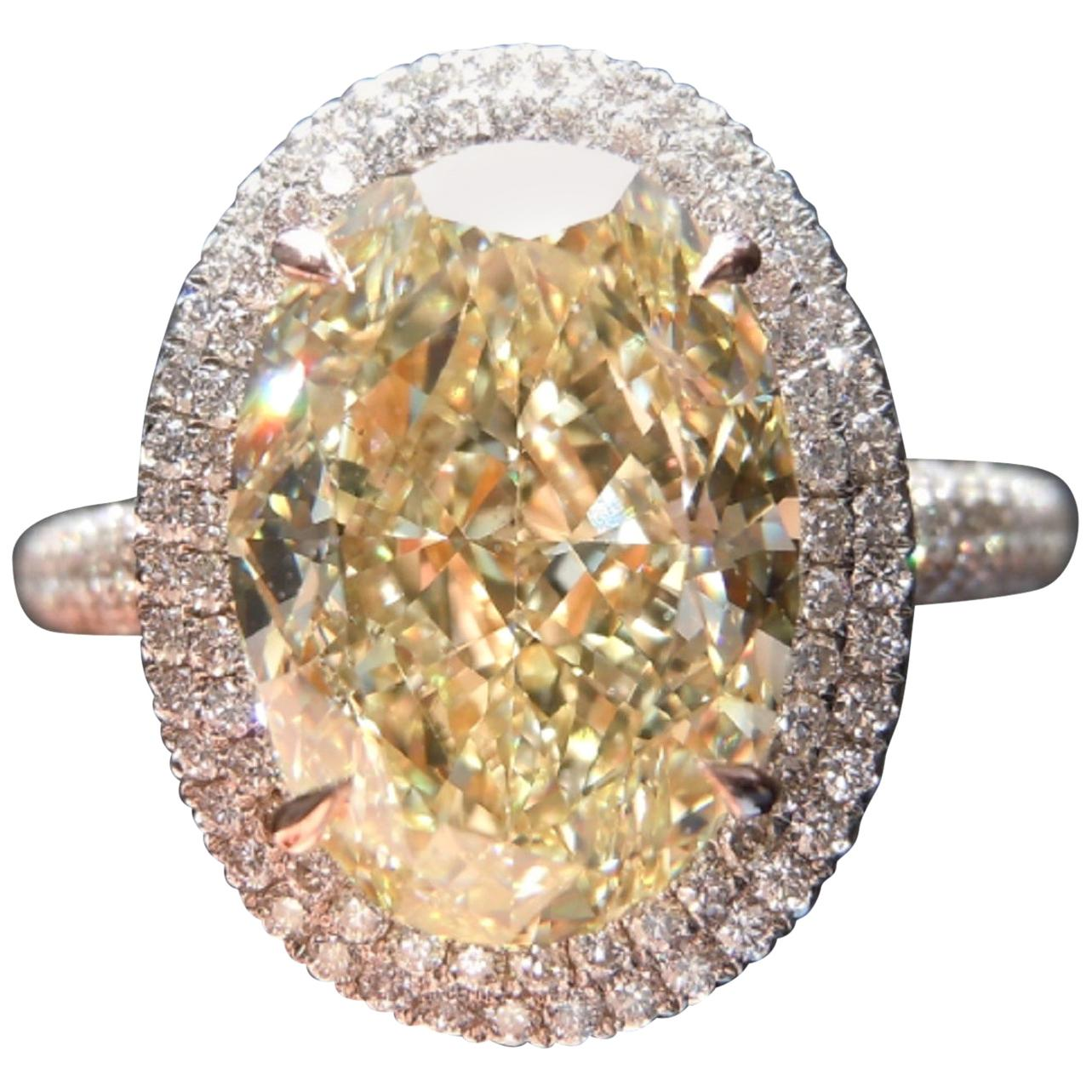 GIA Certified Fancy Yellow Oval and White Diamond Ring 3 Carat Ring