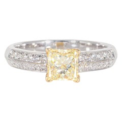 GIA Fancy Light Yellow 18 Karat Diamond Ring