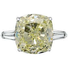 GIA Fancy Light Yellow Cushion 5.50 Carat Diamond Ring VS1 Clarity