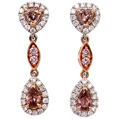 Gia Fancy Orangy Pink Diamond Earrings