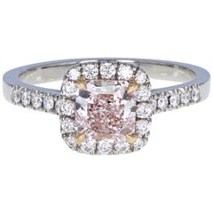 GIA Fancy Pink 1.05 Carat Radiant Diamond Halo Solitaire Engagement Ring