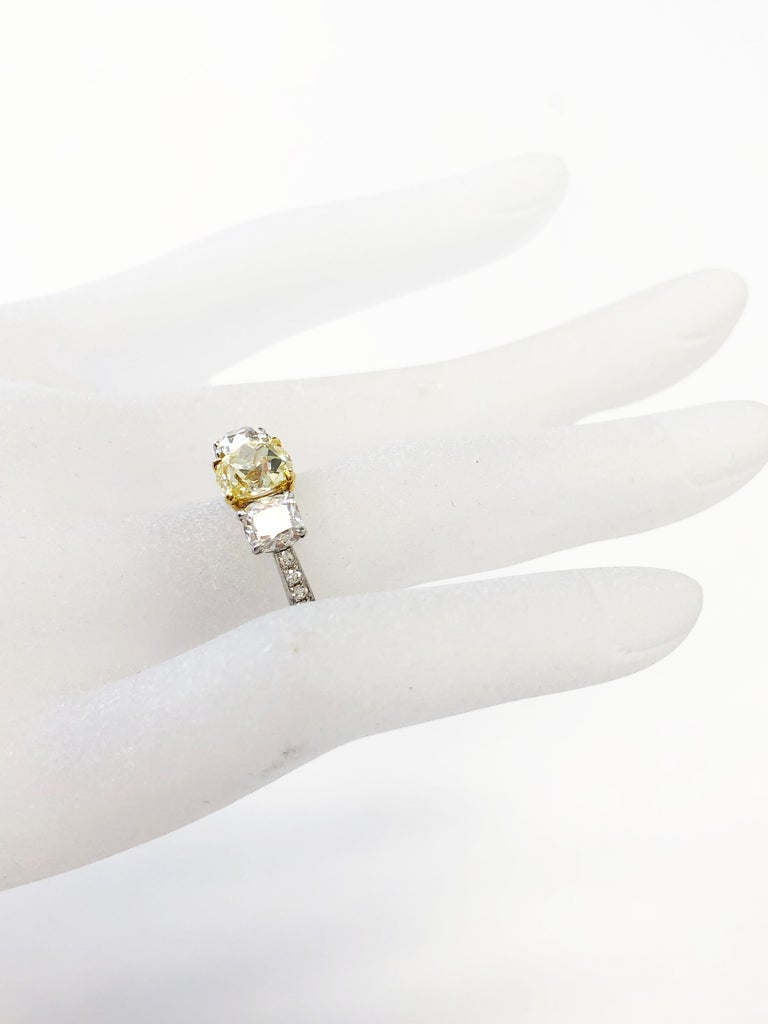 Women's or Men's GIA Fancy Yellow Diamond Cushion and White Diamond 3 Stone Ring in 18k Gold