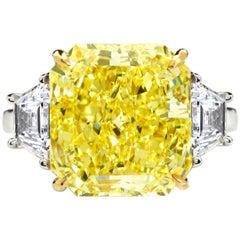 Fancy Yellow Diamond Engagement Ring 7.34 Carat GIA Certified