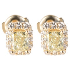 GIA Fancy Yellow Diamond Stud Earrings in 14 Karat Gold '1.85 Carat FY/VS1-VS2'