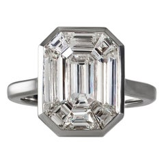 "GIA G-SI1 2.25 Carat Emerald Pie-Cut ""Illusion"" Diamond Wedding Ring Platinum"